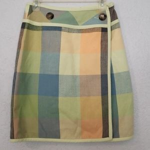 NINE womens skirt - plaid w accent buttons, warm 6